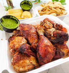 #loveandporkbelly:  Pollo a la brasa aji sauce corn and fries...