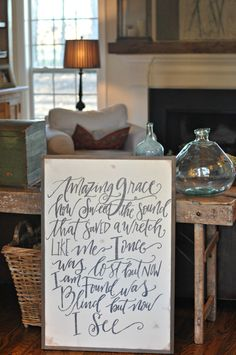 Amazing Grace sign by BetweenYouAndMeSigns on Etsy Grace Sign, Dining Room Wall Art, Amazing Grace, Sign Design, Sweet Home, Home And Garden, Woodworking, Diy Crafts, Handmade Gifts