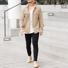 Tanned shirt and #chelseaboots by @sandroisfree [ http://ift.tt/1f8LY65 ]