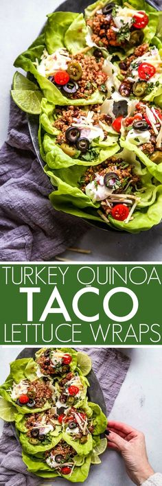 Taco Quinoa & Turkey Lettuce Wraps make a hearty, healthy, protein packed meal that�s amazingly delicious and quick and easy to prepare. They�re perfect for meal prep too. #healthydinner #lettucewraps #mexican #tacolettucewraps #tacowraps via @platingspa