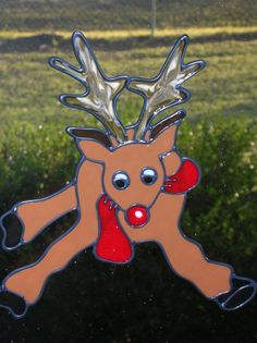 Red nosed reindeer Christmas Cling by windows2thesoul on Etsy, $6.00