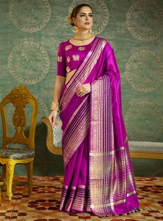 Buy Magenta Silk Saree With Blouse 118649 with blouse online at lowest price from vast collection of sarees at m.indianclothstore.c.