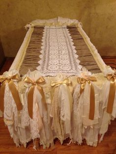 Large hand made shabby chic table runner by ChicandShabbyLinens, $500.00