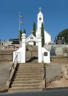 Jackson CA- This beautiful white church with cemetery is highly visible as you drive into town on 49.  10-7-12