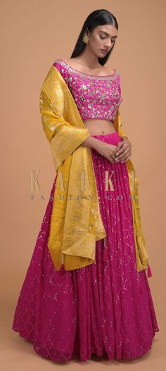 Hot pink lehenga choli in georgette with sequins embroidered Moroccan jaal pattern. Matched with a silk blouse with gotta patches, mirror abla. Pink Lehenga, Lehenga Choli, Sari, Mehndi Dress, Mehendi, Embroidery Online, Moroccan, Hot Pink, Patches