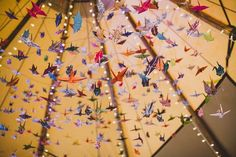 Jess and Nick's Tipi Garden Wedding with 1000 Origami Cranes. By Lola Rose Photography