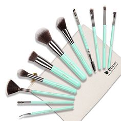 DUcare Wooden Handle Makeup Brush Set with  Roll Cases for Girls, Mint Green (11 Pieces) * Visit the image link more details.