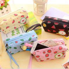 New Watermelon Pattern Double Zipper Big Bag Creative Office Multifunction School Supplies Pencil Case Purse