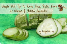 Prevention of wasps and yellow jackets. Slice a fresh cucumber into thin slices and arrange them in a single layer on an aluminum pie plate. The cucumber must be fresh – the pan must be aluminum. The cucumber reacts with the aluminum and gives off a chemical reaction/scent that is undetectable to humans but drives wasps and yellow-jackets away and makes them flee the area.