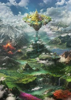 When Yggdrasyl ended Momonga wasn't the only one of the guild Ainz Oo… # Fantezie # amreading # books # wattpad Fantasy Art Landscapes, Fantasy Landscape, Landscape Art, Fantasy City, Fantasy Places, Dark Fantasy, Fantasy World Map, Fantasy Concept Art, Fantasy Artwork
