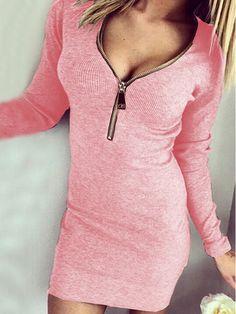 Vestido cremallera cuello V entallado -rosa 10.66