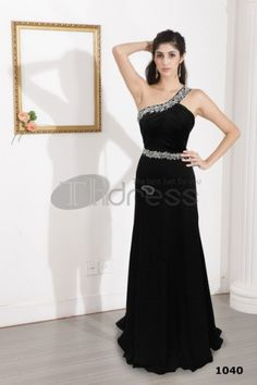 One-shoulder black sheath dress then ground dress 2012