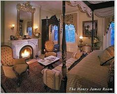 A fire place in master bedroom and Victorian style furniture?  It can not get better.