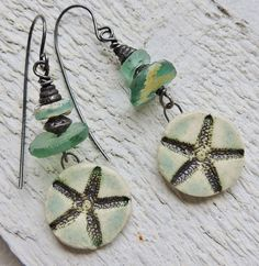 by Sheri Mallery, Starfish beachy artisan handmade earnings by SheriMalleryHandwork.etsy.com