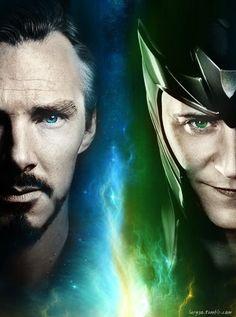 Benedict Cumberbatch as Doctor Strange and Tom Hiddleston as Loki