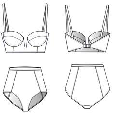 Pattern Construction for Bikinis › M.Mueller & Sohn Flat Drawings, Flat Sketches, Fashion Design Template, Fashion Design Sketches, Swimsuit Pattern, Bra Pattern, Fashion Flats, Diy Fashion, Bikini Modells