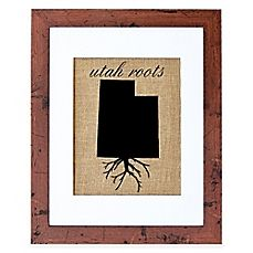 Fiber and Water Utah Roots Burlap Wall Art in Rustic Walnut Frame