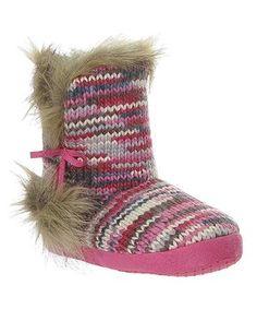 Pink Stripe Faux Fur Boot