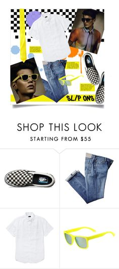 """""""Menswear Staple: Slip-Ons"""" by leslee-dawn ❤ liked on Polyvore featuring Vans, J.Crew, Lacoste, men's fashion and menswear"""