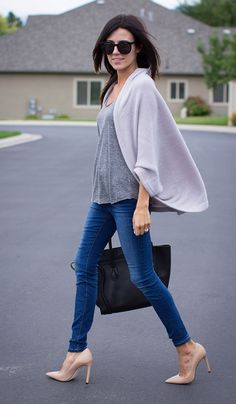 I love this outfit.  Cardigan.Loose Grey Top. Blue Jeans. Nude Heels.