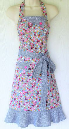 Floral Apron Colorful Flowers Gray Apron Women's Full