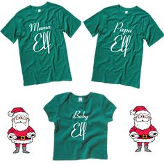 Mama Elf T-Shirt, Papa Elf T-Shirt, Baby Elf Baby Tee. Set of Family Christmas Shirts and Baby T-Shirt. Great Christmas Photo Prop. by SoPinkUK on Etsy