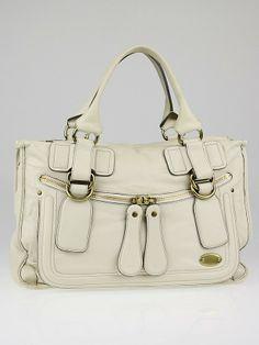 4c39c007f1aa Chloe White Leather Large Bay Satchel Bag