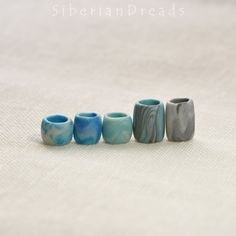 Set of 5 Dreadlock Beads Ethnic Boho Tribal style. Grey, White, Light blue, Deep blue 4 colours beautifully mixed. This item makes your dreadlocks more lovely & beautiful <3 Ready to ship :D   1. Material - Polymer Clay  2. Size - Tall: 1.1cm ~ 1.9cm - Hole: 0.8cm ~ 1cm  **Please read our shipping & policies** **You can choose between Standard Shipping and EMS Shipping Service when you odrder** **Ship to Canada only EMS Shipping. The reason is written in our policies** **Do not mi...