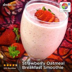 Strawberry Oatmeal Breakfast Smoothie from Allrecipes.com #myplate #protein #fruit #grain
