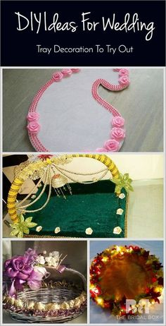 As with every facet in a special celebration such as a wedding, wedding tray decoration is an important detail! Get inspired by these 9 elegant ideas. Wedding Gift Baskets, Wedding Gift Wrapping, Diy Gift Baskets, Wedding Gift Boxes, Engagement Gift Baskets, Wedding Favors, Thali Decoration Ideas, Basket Decoration, Cricut Wedding