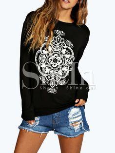 63ce85880ac Black Long Sleeve Pattern Print Sweatshirt 12.99 Sweatshirts Online