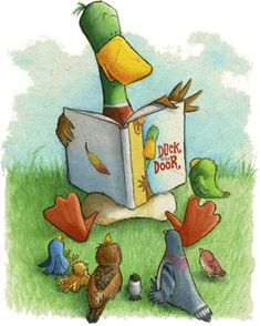I must admit, I adore the notion of one bird reading aloud to other birds. (by Jackie Urbanovic I Love Books, Books To Read, My Books, Reading Art, Reading Aloud, Reading Stories, Book Nooks, Children's Book Illustration, Whimsical Art