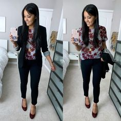 Business Casual Outfit: black blazer floral top black pants maroon heels Source by audreyPMT Ideas casual Casual Work Outfits, Work Attire, Office Outfits, Work Casual, Office Wear, Casual Office, Black Blazer Outfits, Smart Casual, Casual Wear