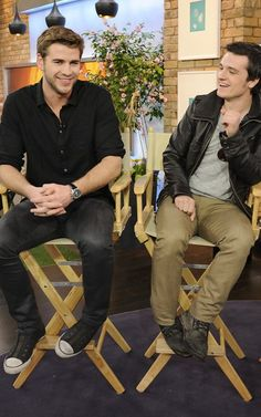 Josh Hutcherson and Liam Hemsworth promoting The Hunger Games in Toronto today.