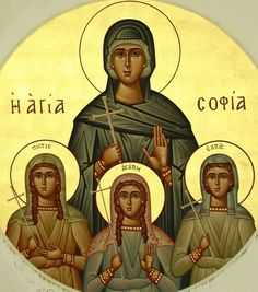 Sophia & her daughters Byzantine Icons, Byzantine Art, Religious Icons, Religious Art, Bible Timeline, Greek Icons, Orthodox Christianity, Art Icon, Russian Art