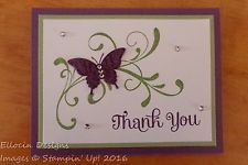 Stampin' Up! Handmade Card Thank You Butterfly Flourish