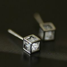 Sterling Silver Magic Cube Shining Cute Simple Love Charm Stud Earrings h56 #Suhua #Stud