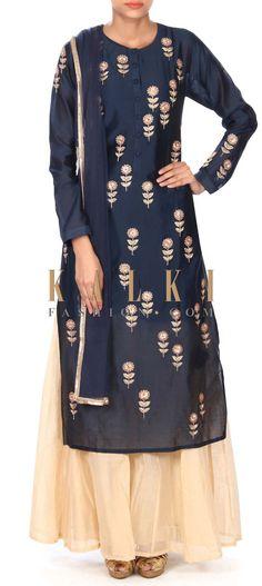 Buy this  Navy blue straight suit adorn in zardosi butti only on Kalki
