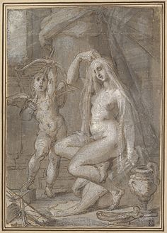Bartholomeus Spranger, 1546-1611, Flemish, Venus and Amor, c.1585.  Pen and brown ink, light and dark brown and gray wash, heightened with white (partially oxidized); traced for transfer, 19.4 x 13.5 cm.  Metropolitan Museum of Art, New York.  Northern Mannerism.