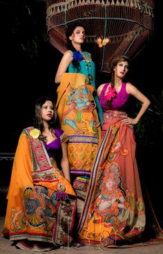 Surraj Kathuria DrauParage Kerala Mural Art | Delhi Style Blog Kerala Mural Painting, Fabric Painting, Fabric Art, Fabric Design, Kerala Saree Blouse, Kalamkari Saree, Hand Painted Sarees, Ethnic Gown, Asian Fashion