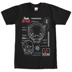 Little Scheme - Learn more about Hank Pyms scientific breakthrough with the Marvel Ant-Man Helmet Schematics Black T-Shirt. The Ant-Man logo and Pym Technologies logo are next to detailed blueprints of the Ant-Man helmet on the front of this awesome black Marvel sh