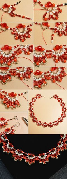 Like this red beaded necklace? Like this red beaded necklace?The tutorial will be published by LC. Seed Bead Necklace, Seed Bead Jewelry, Bead Jewellery, Diy Necklace, Necklace Ideas, Seed Beads, Pearl Necklace, Jewelry Necklaces, Hair Jewellery