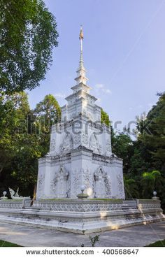 Phuket, Thailand - Jan 23, 2015: White pagoda at Para temple, Phuket, Thailand - stock photo