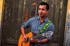 Design: Flor Gordo. Colors: Green, lime green, avocado green / Verde, verde lima, aguacate. Leather embroidered guitar strap  Flor Gordo Green by TildeStraps, $60.00. Foto: Jhonathan F. Gómez.
