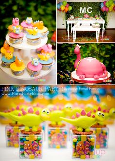 Pink Dinosaur Birthday Party for girls via Karas Party Ideas KarasPartyIdeas.com #pink #dino #dinosaur #birthday #party #girls #ideas #cake #supplies #favors #decor #idea