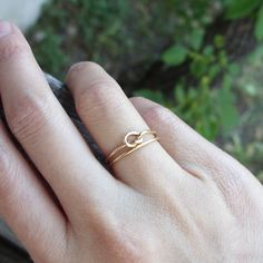 Solid 14k Love Knot Wedding or Commitment Ring Set by brightsmith, $110.00