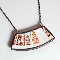Wide Broken Plate Necklace - Brown and Blue Mod Atomic - Recycled China. $50.00, via Etsy.