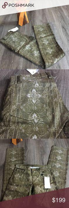 "Roberto Cavalli Gold Metallic Pants Jeans Runway Brand new sample jeans/pants from Robert Cavalli. Stunning gold Metallic print throughout.   Signature gold snake 🐍 button. 💯 % authentic. Sz small measurements taken laying flat waist 14.5"" rise 8"" inseam 36"" Roberto Cavalli Jeans"