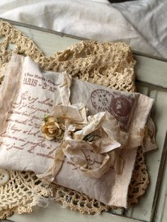 French Script Stamped Sachet with Scrimped seam binding ribbon bow...I'd use it for just a pillow.