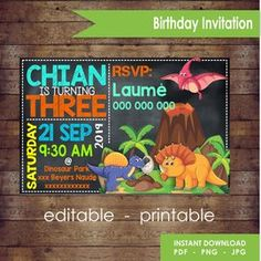 Dinosaur Birthday Invitation Card
